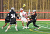 Baldwinsville Bees Austin Bolton (15) shoots and scores against the Corcoran Cougars in Section III Boys Lacrosse action at the Pelcher-Arcaro Stadium in Baldwinsville, New York on Tuesday, April 30, 2019. Baldwinsville won 20-6.