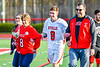 Baldwinsville Bees Senior Ethan Donaghey (8) with his family on Senior Night at the Pelcher-Arcaro Stadium in Baldwinsville, New York on Tuesday, April 30, 2019.