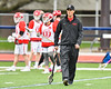 Baldwinsville Bees Head Coach Matt Wilcox on the field during pre-game warm ups before his team played the Liverpool Warriors in a Section III Boys Lacrosse game at Liverpool High School Stadium in Liverpool, New York on Thursday, May 2, 2019.