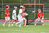 Liverpool Warriors Devin Dewane (9, not pictured) scores a goal on Baldwinsville Bees goalie Daniel Stehle (34) in Section III Boys Lacrosse action at Liverpool High School Stadium in Liverpool, New York on Thursday, May 2, 2019.  Baldwinsville won 12-8.