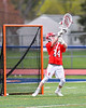 Baldwinsville Bees goalie Daniel Stehle (34) warming up to play the Liverpool Warriors in a Section III Boys Lacrosse game at Liverpool High School Stadium in Liverpool, New York on Thursday, May 2, 2019.