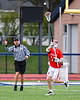 Baldwinsville Bees Caleb Voorhees (17) passing the ball against the Liverpool Warriors in Section III Boys Lacrosse action at Liverpool High School Stadium in Liverpool, New York on Thursday, May 2, 2019.  Baldwinsville won 12-8.