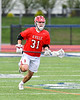 Baldwinsville Bees Braden McCard (31) running with the ball against the Liverpool Warriors in Section III Boys Lacrosse action at Liverpool High School Stadium in Liverpool, New York on Thursday, May 2, 2019.  Baldwinsville won 12-8.