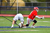 Baldwinsville Bees Jake Walsh (4) wins a face-off against Liverpool Warriors Jake Piseno (21) in Section III Boys Lacrosse action at Liverpool High School Stadium in Liverpool, New York on Thursday, May 2, 2019.  Baldwinsville won 12-8.