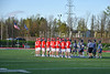 Baldwinsville Bees and Cicero-North Syracuse Northstars players before the start of a Section III Boys Lacrosse game at Michael Bragman Stadium in Cicero, New York on Tuesday, May 7, 2019.