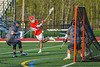 Baldwinsville Bees Spencer Wirtheim (10) fires the ball at the Cicero-North Syracuse Northstars net in Section III Boys Lacrosse action at Michael Bragman Stadium in Cicero, New York on Tuesday, May 7, 2019. Baldwinsville won 21-5.