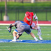 Baldwinsville Bees Jake Walsh (4) wins a face-off against Cicero-North Syracuse Northstars Joel Firth (14) to start a Section III Boys Lacrosse game at Michael Bragman Stadium in Cicero, New York on Tuesday, May 7, 2019. Baldwinsville won 21-5.