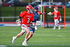 Baldwinsville Bees Adam Davis (3) running with the ball against the Cicero-North Syracuse Northstars in Section III Boys Lacrosse action at Michael Bragman Stadium in Cicero, New York on Tuesday, May 7, 2019. Baldwinsville won 21-5.