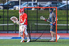 Baldwinsville Bees goalie Daniel Stehle (34) makes a save against the Cicero-North Syracuse Northstars in Section III Boys Lacrosse action at Michael Bragman Stadium in Cicero, New York on Tuesday, May 7, 2019. Baldwinsville won 21-5.