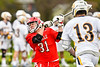 Baldwinsville Bees Braden McCard (31) leans into a shot at the West Genesee Wildcats net in Section III Boys Lacrosse action at Mike Messere Field in Camillus, New York on Thursday, May 9, 2019. Baldwinsville won 14-10.