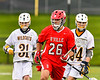 Baldwinsville Bees Michael Tangredi (26) running with the ball against the West Genesee Wildcats in Section III Boys Lacrosse action at Mike Messere Field in Camillus, New York on Thursday, May 9, 2019. Baldwinsville won 14-10.