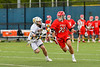 Baldwinsville Bees Michael Tangredi (26) with the ball against West Genesee Wildcats Max Rosa (13) in Section III Boys Lacrosse action at Mike Messere Field in Camillus, New York on Thursday, May 9, 2019. Baldwinsville won 14-10.
