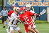 Baldwinsville Bees Michael Tangredi (26) heads to the net against West Genesee Wildcats Nick Louise (32) in Section III Boys Lacrosse action at Mike Messere Field in Camillus, New York on Thursday, May 9, 2019. Baldwinsville won 14-10.