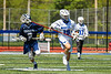 Westhill Warriors Wyatt Lavigne (19) running with the ball against the Homer Trojans in a Section III Class C Boys Lacrosse playoff action in Syracuse, New York on Saturday, May 18, 2019. Westhill won 14-4.