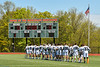 Marcellus Mustangs stand for the National Anthem before playing the Jordan-Elbridge Eagles in a Section III Class D Boys Lacrosse playoff game in Marcellus, New York on Saturday, May 18, 2019.