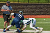 Marcellus Mustangs Matt Welch (10) facing off against Jordan-Elbridge Eagles Luke Pinckney (16) in Section III Class D Boys Lacrosse playoff action in Marcellus, New York on Saturday, May 18, 2019. Marcellus won 20-5.