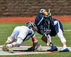 Marcellus Mustangs Matt Welch (10 facing off against Jordan-Elbridge Eagles Luke Pinckney (16) in Section III Class D Boys Lacrosse playoff action in Marcellus, New York on Saturday, May 18, 2019. Marcellus won 20-5.