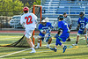 Cicero-North Syracuse Northstars goalie Joe Bartolo (31) makes a save against Baldwinsville Bees Brendan Wilcox (22) in Section III Class A Semifinals Boys Lacrosse action at Michael Bragman Stadium in Cicero, New York on Tuesday, May 21, 2019. Baldwinsville won 7-4.