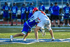 Cicero-North Syracuse Northstars Joel Firth (14) faced off with Baldwinsville Bees Jake Walsh (4) to start a Section III Class A Semifinals Boys Lacrosse game at Michael Bragman Stadium in Cicero, New York on Tuesday, May 21, 2019. Baldwinsville won 7-4.