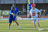 Cicero-North Syracuse Northstars Aidan Longley (11) battles for the ball with Baldwinsville Bees Cameron Sweeney (21) in Section III Class A Semifinals Boys Lacrosse action at Michael Bragman Stadium in Cicero, New York on Tuesday, May 21, 2019. Baldwinsville won 7-4.