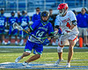Cicero-North Syracuse Northstars Joel Firth (14) wins a face-off against Baldwinsville Bees Jake Walsh (4) in Section III Class A Semifinals Boys Lacrosse action at Michael Bragman Stadium in Cicero, New York on Tuesday, May 21, 2019. Baldwinsville won 7-4.
