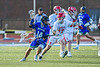 Cicero-North Syracuse Northstars Joel Firth (14) being defended by Baldwinsville Bees Caleb Voorhees (17) in Section III Class A Semifinals Boys Lacrosse action at Michael Bragman Stadium in Cicero, New York on Tuesday, May 21, 2019. Baldwinsville won 7-4.