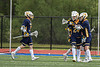 West Genesee Wildcats players congratulate Anthony Dattellas (24) on his goal against the Baldwinsville Bees in Section III Class A Finals Boys Lacrosse action at Michael Bragman Stadium in Cicero, New York on Friday, May 24, 2019. Baldwinsville won 18-6.