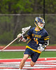 West Genesee Wildcats Samuel Mancabelli (4) with the ball against the Baldwinsville Bees in Section III Boys Lacrosse action at the Pelcher-Arcaro Stadium in Baldwinsville, New York on Tuesday, May 4, 2021. Baldwinsville won 11-4.