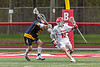 Baldwinsville Bees Ryan Hollenbeck (17) with the ball against the West Genesee Wildcats in Section III Boys Lacrosse action at the Pelcher-Arcaro Stadium in Baldwinsville, New York on Tuesday, May 4, 2021. Baldwinsville won 11-4.