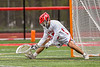 Baldwinsville Bees goalie Cooper Foote (5) warming up before playing the West Genesee Wildcats in a Section III Boys Lacrosse game at the Pelcher-Arcaro Stadium in Baldwinsville, New York on Tuesday, May 4, 2021.