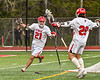 Baldwinsville Bees Brayden Penafeather-Stevenson (21) celebrates his goal against the West Genesee Wildcats in Section III Boys Lacrosse action at the Pelcher-Arcaro Stadium in Baldwinsville, New York on Tuesday, May 4, 2021. Baldwinsville won 11-4.