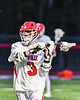 Baldwinsville Bees Leo Johnson (3) looking to make a play against the West Genesee Wildcats in Section III Boys Lacrosse action at the Pelcher-Arcaro Stadium in Baldwinsville, New York on Tuesday, May 4, 2021. Baldwinsville won 11-4.