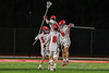 Baldwinsville Bees players celebrate the win over the West Genesee Wildcats in Section III Boys Lacrosse action at the Pelcher-Arcaro Stadium in Baldwinsville, New York on Tuesday, May 4, 2021. Baldwinsville won 11-4.