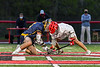Baldwinsville Bees Jacob Czyz (7) facing off against West Genesee Wildcats Nicholas Louise (5) to start the Second Half of a Section III Boys Lacrosse game at the Pelcher-Arcaro Stadium in Baldwinsville, New York on Tuesday, May 4, 2021. Baldwinsville won 11-4.