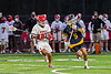 Baldwinsville Bees defending against West Genesee Wildcats Nicholas Louise (5) in Section III Boys Lacrosse action at the Pelcher-Arcaro Stadium in Baldwinsville, New York on Tuesday, May 4, 2021. Baldwinsville won 11-4.