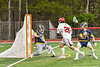 Baldwinsville Bees Michael Marsallo (29) pops the net for a goal against West Genesee Wildcats goalie Bryce Landry (12) in Section III Boys Lacrosse action at the Pelcher-Arcaro Stadium in Baldwinsville, New York on Tuesday, May 4, 2021. Baldwinsville won 11-4.