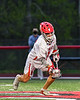 Baldwinsville Bees Jacob Czyz (7) after winning a face-off against the West Genesee Wildcats in Section III Boys Lacrosse action at the Pelcher-Arcaro Stadium in Baldwinsville, New York on Tuesday, May 4, 2021. Baldwinsville won 11-4.
