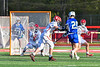 Cicero-North Syracuse Northstars Michael Koehler (20) shoots and scores a goal against Baldwinsville Bees goalie Cooper Foote (5) in Section III Boys Lacrosse action at the Pelcher-Arcaro Stadium in Baldwinsville, New York on Tuesday, May 11, 2021. Baldwinsville won 17-6.