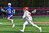 Baldwinsville Bees Leo Johnson (3) running with the ball against the Cicero-North Syracuse Northstars in Section III Boys Lacrosse action at the Pelcher-Arcaro Stadium in Baldwinsville, New York on Tuesday, May 11, 2021. Baldwinsville won 17-6.