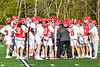 Baldwinsville Bees Head Coach Matt Wilcox talking to his team before they played against the Cicero-North Syracuse Northstars in a Section III Boys Lacrosse game at the Pelcher-Arcaro Stadium in Baldwinsville, New York on Tuesday, May 11, 2021.