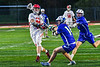 Baldwinsville Bees Lucas Hoskin (16) shoots and scores a goal against the Cicero-North Syracuse Northstars in Section III Boys Lacrosse action at the Pelcher-Arcaro Stadium in Baldwinsville, New York on Tuesday, May 11, 2021. Baldwinsville won 17-6.