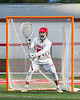 Baldwinsville Bees goalie Cooper Foote (5) in net against the Cicero-North Syracuse Northstars in Section III Boys Lacrosse action at the Pelcher-Arcaro Stadium in Baldwinsville, New York on Tuesday, May 11, 2021. Baldwinsville won 17-6.