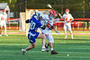 Baldwinsville Bees Lucas Hoskin (16) battles for the ball with Cicero-North Syracuse Northstars Michael Koehler (20) in Section III Boys Lacrosse action at the Pelcher-Arcaro Stadium in Baldwinsville, New York on Tuesday, May 11, 2021. Baldwinsville won 17-6.