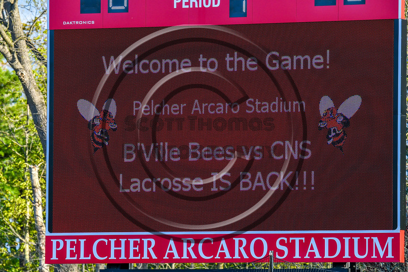Baldwinsville Bees hosted the Cicero-North Syracuse Northstars in Section III Boys Lacrosse action at the Pelcher-Arcaro Stadium in Baldwinsville, New York on Tuesday, May 11, 2021.