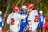 Baldwinsville Bees Victor Ianno (2) congratulates Michael Marsallo (29) on his goal against the Cicero-North Syracuse Northstars in Section III Boys Lacrosse action at the Pelcher-Arcaro Stadium in Baldwinsville, New York on Tuesday, May 11, 2021. Baldwinsville won 17-6.