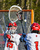 Baldwinsville Bees goalie Mason Clark (15) during warm ups before playing the Cicero-North Syracuse Northstars in a Section III Boys Lacrosse game at the Pelcher-Arcaro Stadium in Baldwinsville, New York on Tuesday, May 11, 2021.