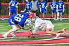 Baldwinsville Bees Jacob Czyz (7) facing off against Cicero-North Syracuse Northstars Jordan Miller (28) in Section III Boys Lacrosse action at the Pelcher-Arcaro Stadium in Baldwinsville, New York on Tuesday, May 11, 2021. Baldwinsville won 17-6.