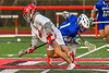 Baldwinsville Bees Jacob Czyz (7) wins a face-off against Cicero-North Syracuse Northstars Elijah Martin (1) in Section III Boys Lacrosse action at the Pelcher-Arcaro Stadium in Baldwinsville, New York on Tuesday, May 11, 2021. Baldwinsville won 17-6.