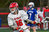 Baldwinsville Bees Lucas Hoskin (16) with the ball against the Cicero-North Syracuse Northstars in Section III Boys Lacrosse action at the Pelcher-Arcaro Stadium in Baldwinsville, New York on Tuesday, May 11, 2021. Baldwinsville won 17-6.