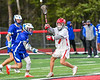 Baldwinsville Bees Jacob Czyz (7) passing the ball against the Cicero-North Syracuse Northstars in Section III Boys Lacrosse action at the Pelcher-Arcaro Stadium in Baldwinsville, New York on Tuesday, May 11, 2021. Baldwinsville won 17-6.